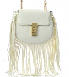Faux Leather Fringe Purse E095-JC 100471 White