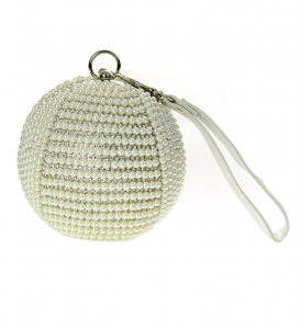 Rhinestone Pearl Ball Shape Metal Clutch Purse CH8010L 1029 - Silver