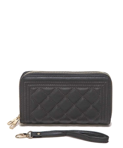 Double Zip Quilted Wristlet Wallet 118-6106 DARK GRAY