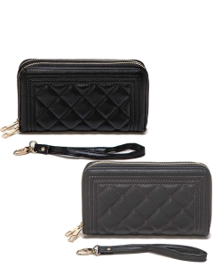 Package of 6 Pieces Double Zip Quilted Wristlet Wallet 118-6106