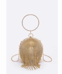 Rhinestone Statement Ball Pendant Clutch 118-6467 GOLD