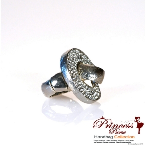 Fashionable Bold Silver Color Ring W/ Rhinestone Accent