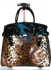 Designer Inspired Leopard Travel Bag w/ Fold Over Leather Flop