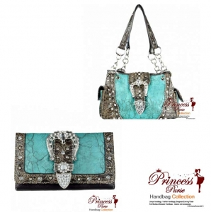 Combo!!New Western Designer Inspired Hand Bag w/ Rhinestone and Stud Decor and a Flip-Over Buckle Closure w/ Matching Wallet.