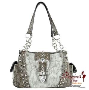 New Western Designer Inspired Hand Bag w/ Rhinestone and Stud Decor and a Flip-Over Buckle Closure - Blue