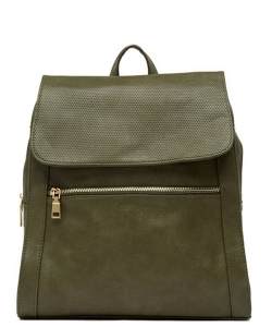 Urban Expressions Mick Vegan Leather Backpack 14544 OLIVE