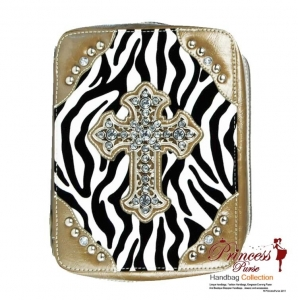 Designer Inspired Zebra Print Bible Case w/ Rhinestone Cross Accent