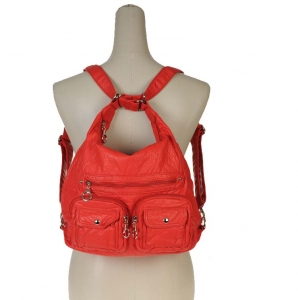 Designer Inspired Multi Ware Hobo Backpack and Handbag w/ Front Pockets - Red