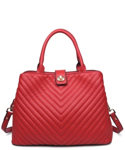 Urban Expressions Gazer Vegan Leather Satchel  16263 Red