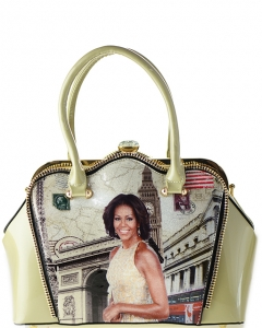 Zipper Michelle Obama Fashion  Magazine Print Faux Patent Leather Handbag With Gold Embellishments