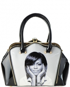 Zipper Michelle Obama Fashion  Magazine Print Faux Patent Leather Handbag With Gold Embellishments 1663