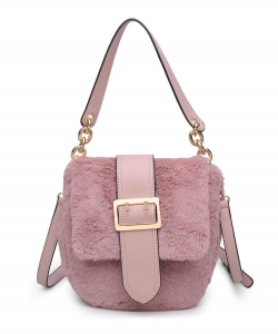 Urban Expressions Sully Fur Crossbody Bag 16792 BLUSH