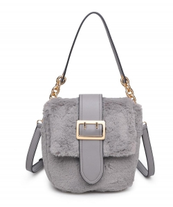 Urban Expressions Sully Fur Crossbody Bag 16792 GRAY