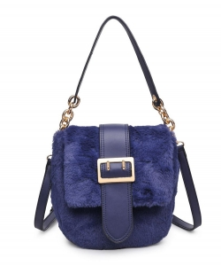 Urban Expressions Sully Fur Crossbody Bag 16792 NAVY