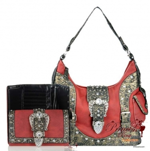 Combo!!Designer Inspired Crocodile Skin Handbag w/ Fold Over Belt And Studs Accent with Matching Wallet