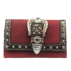 Rhinestone Western Buckle Wallet X33 16898 RED