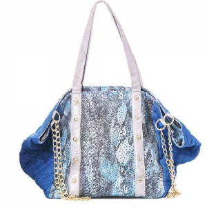 Faux Animal Skin Tote Denim G8609 1738 Blue/Khaki