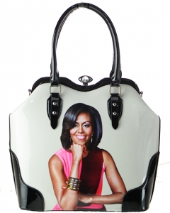 Glossy Magazine Cover Michelle Obama Printed Jewel-Top Framed Boston Satchel Handbag