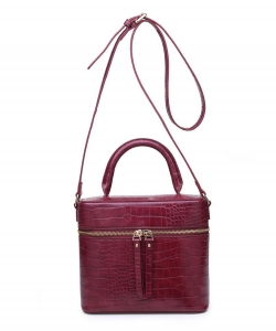 Urban Expressions Rogue Croc Crossbody Bag 18114C BURGUNDY