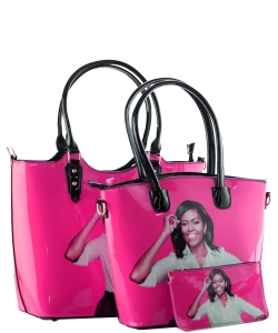 3 in one Fashion Magazine Print Faux Patent Leather Handbag With Gold Embellishments  1815 FUSCHIA