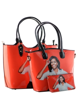 3 in one Fashion Magazine Print Faux Patent Leather Handbag With Gold Embellishments  1815 ORANGE
