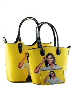 3 in one Fashion Magazine Print Faux Patent Leather Handbag With Gold Embellishments  1815 YELLOW