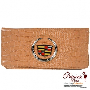 Original Cadillac Faux Croc Leather Clutch Bag w/ Cadillac Center Emblem.