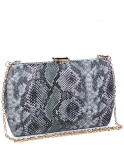 Urban expression Snake Skin Clutch 18836 - GREEN MULTI