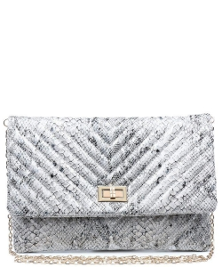 Urban Expressions Victoria Snakeskin Clutch Bag 19035 SILVER