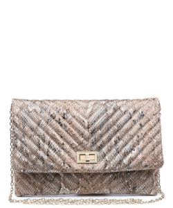 Urban Expressions Victoria Snake Vegan Leather Crossbody bag 19035S NATURAL