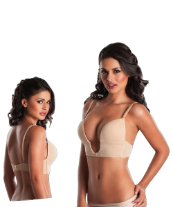 Low Plunge Mandy VBra with Clear Straps 1906 BEIGE