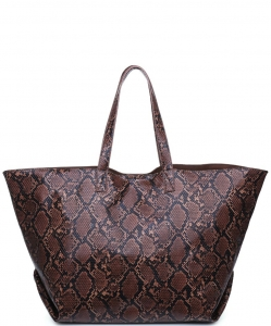 Urban Expressions Mylah PYTHON Tote Bag 19119 CHOCOLATE