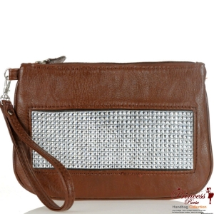Designer Inspired Clutch Bag w/ Rhinestone Accent