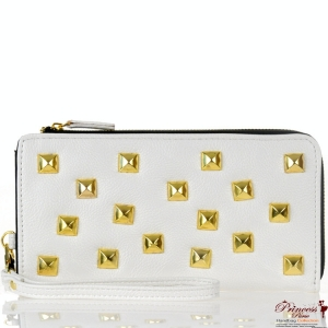Designer Inspired Wallet w/ Gold Tone Studs Accent