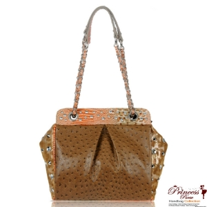 Designer Inspired Ostrich Handbag w/ Crystal And Studs Accent