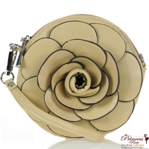 Designer Inspired Small Round Bag w/ Flower Accent