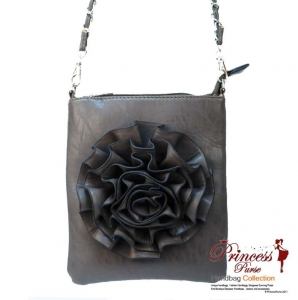 Designer Inspired Leatherette Messenger bag with Flower Accent