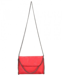 Metal Color PU Leather Chain Edging Cross Body Handbag GF6518 CORAL