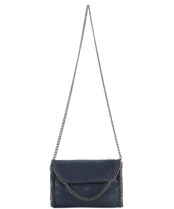 Metal Color PU Leather Chain Edging Cross Body Handbag GF6518 Navy