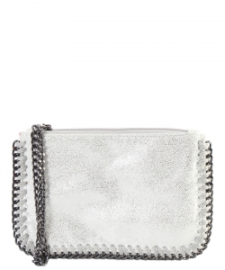 GF6521-LP Chain Accent Metallic Wristlet Pouch