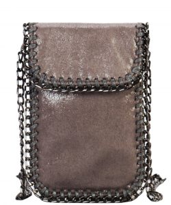 Whipstitch Accent Metal Chain Cross Body Cellphone Case Y1722 DGREY