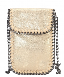 Whipstitch Accent Metal Chain Cross Body Cellphone Case Y1722 GOLD