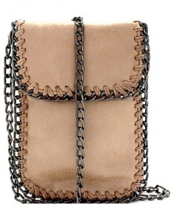 Whipstitch Accent Metal Chain Cross Body Cellphone Case Y1722 KHAKI