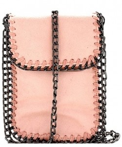 Whipstitch Accent Metal Chain Cross Body Cellphone Case Y1722 PINK
