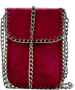 Whipstitch Accent Metal Chain Cross Body Cellphone Case Y1722 WINE