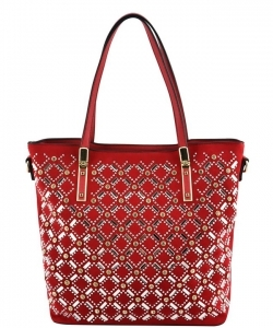 Elegant Mono Tone Colored With Rhinestones Decorated Fashion Handbag YL302 RED