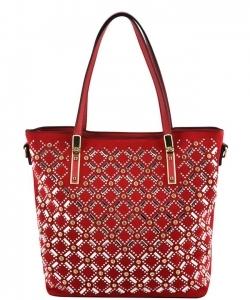 Elegant Mono Tone Colored With Rhinestones Decorated Fashion Handbag YL302  RED 396d957295