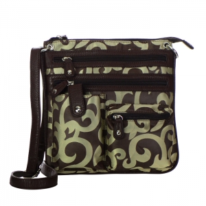 Designer Inspired Faux Leather and Fabric Patterned Messenger Bag 20053 - Brown