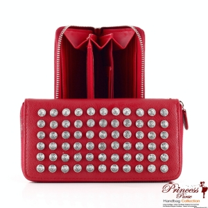 Designer Inspired Leatherette Wallet w/ Rhinestone Accent