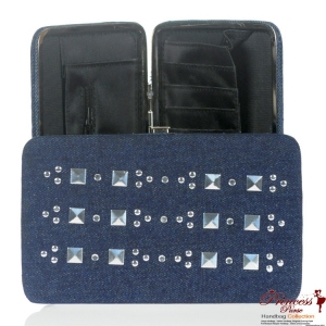 Designer Inspired Denim Wallet w/ Stud Accent